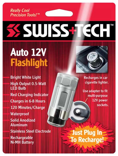 светодиодный фонарь Swiss Tech Auto Rechargeable Flashlight 12v silver