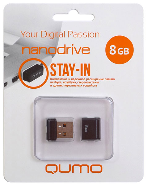 флешка USB QUMO Nano 8Gb black