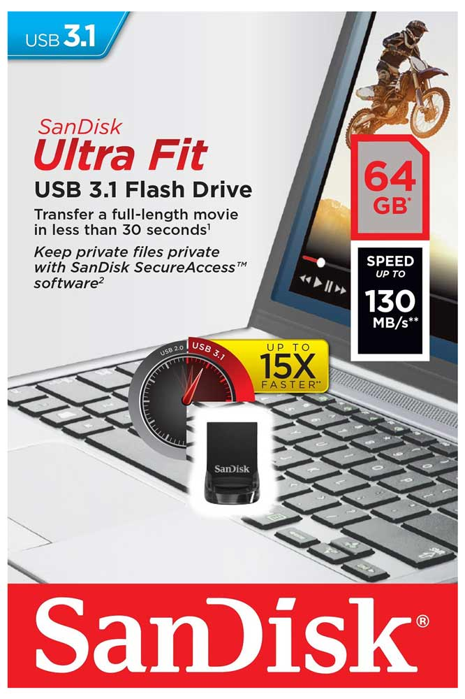 флешка USB 3.0 SanDisk CZ430 Ultra Fit 64GB 3.1 black