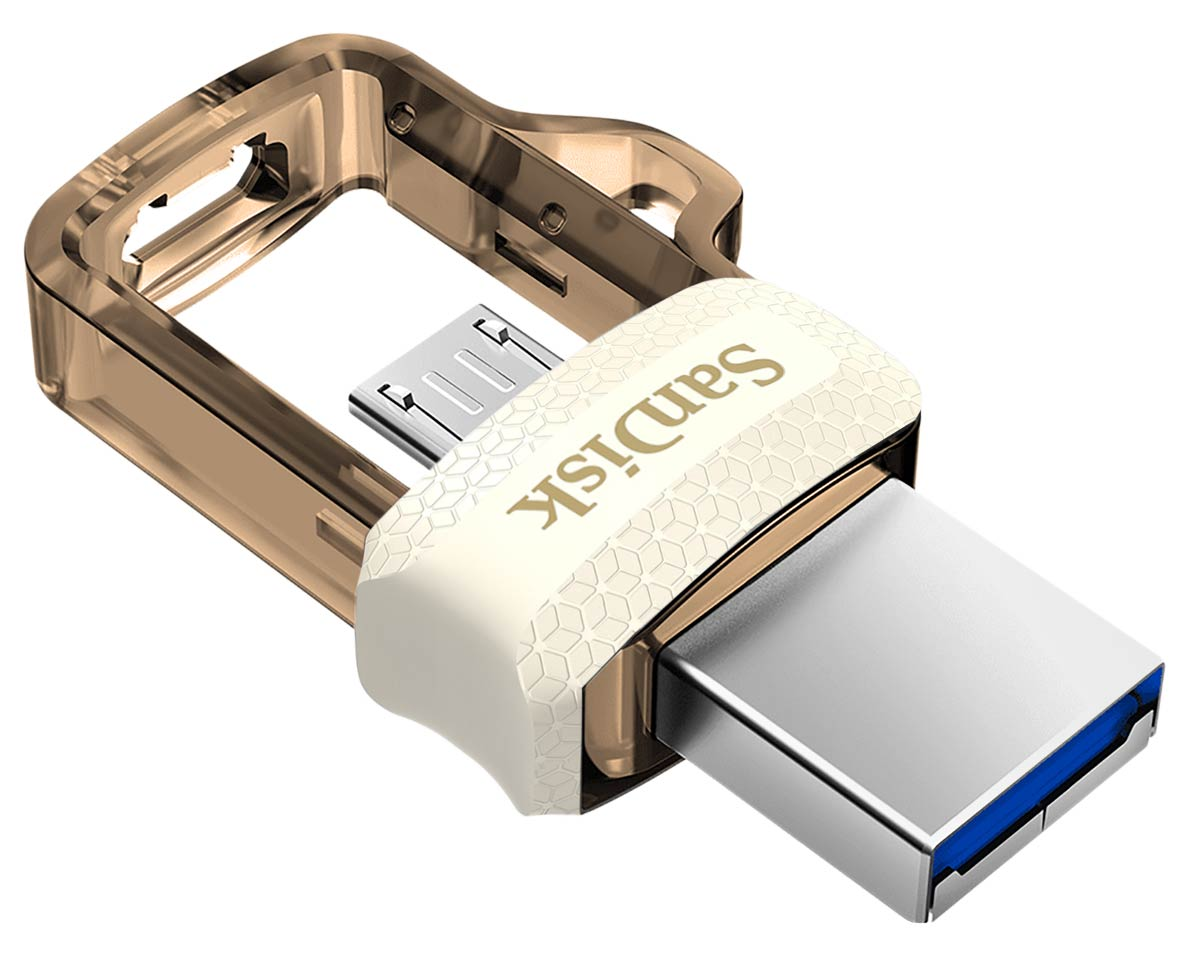 OTG флешка SanDisk Ultra Dual Drive m3.0 32GB gold white